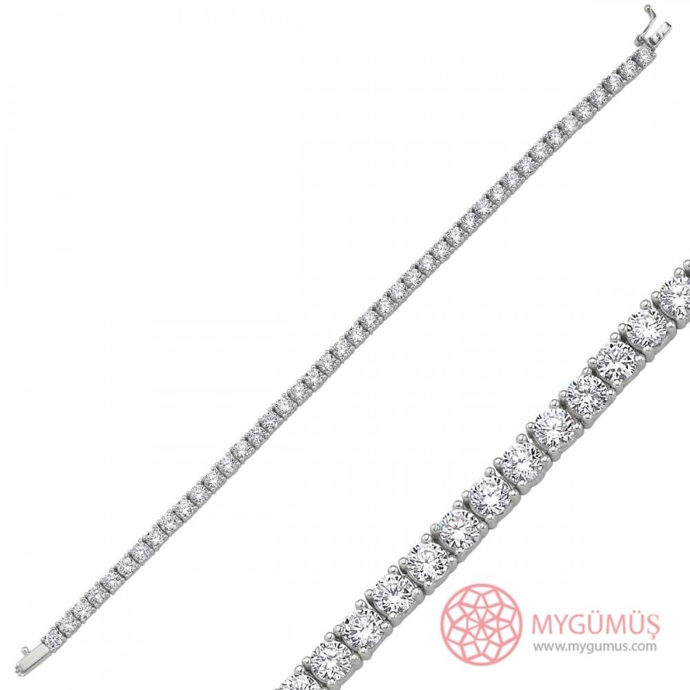 Özel Seri Taşlı Kare Kesim Su Yolu Gümüş Bileklik Bayan MYB0013 10106 Thumb