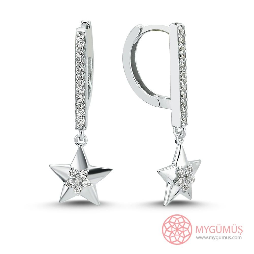 Özel Seri Taşlı Yıldız Halka Gümüş Küpe MY102044 10011 Thumb