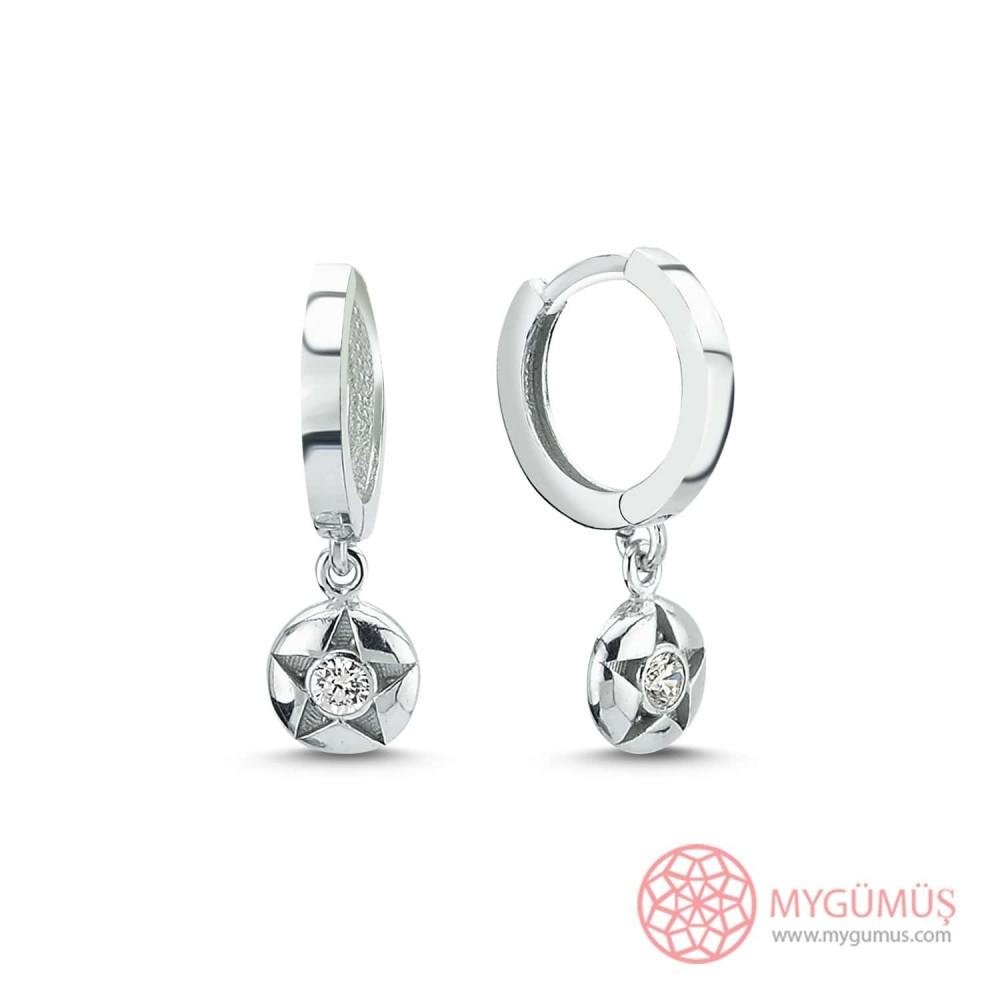Özel Seri Yıldız İçinde Tek Taş Halka Gümüş Küpe MYG077 10051 Thumb