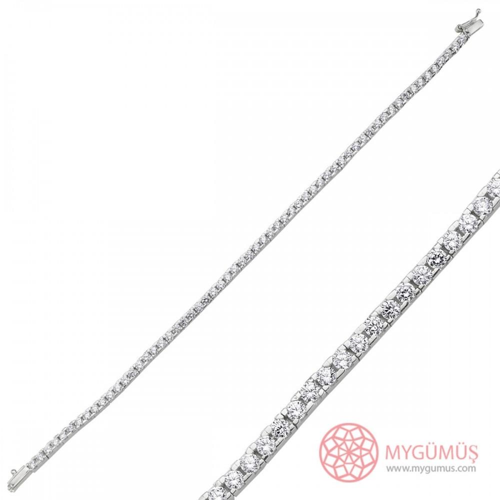 Pırlanta Montür Su Yolu Gümüş Bileklik Bayan MYB0009 10102 Thumb