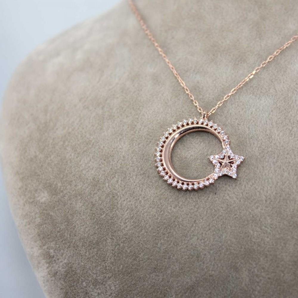 Özel Tasarım Ay Yıldız Gümüş Kolye MY101150 8671 Thumb