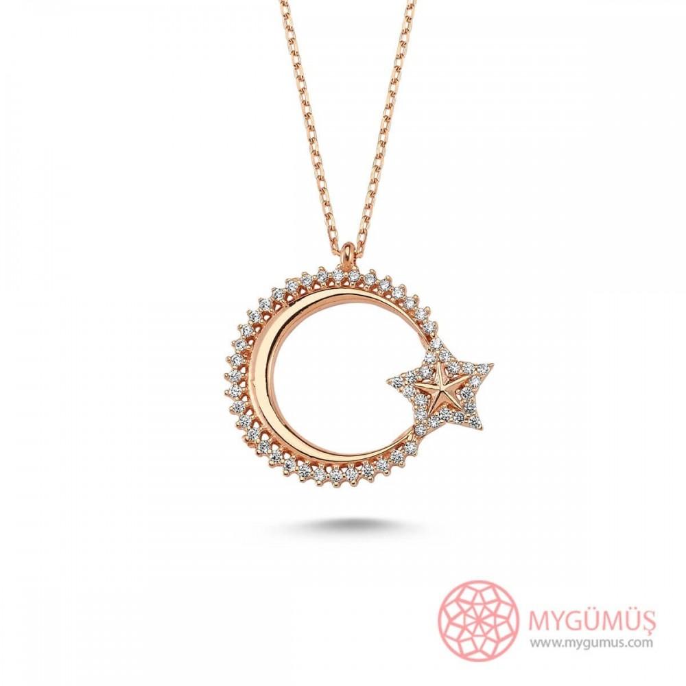 Özel Tasarım Ay Yıldız Gümüş Kolye MY101150 9502 Thumb