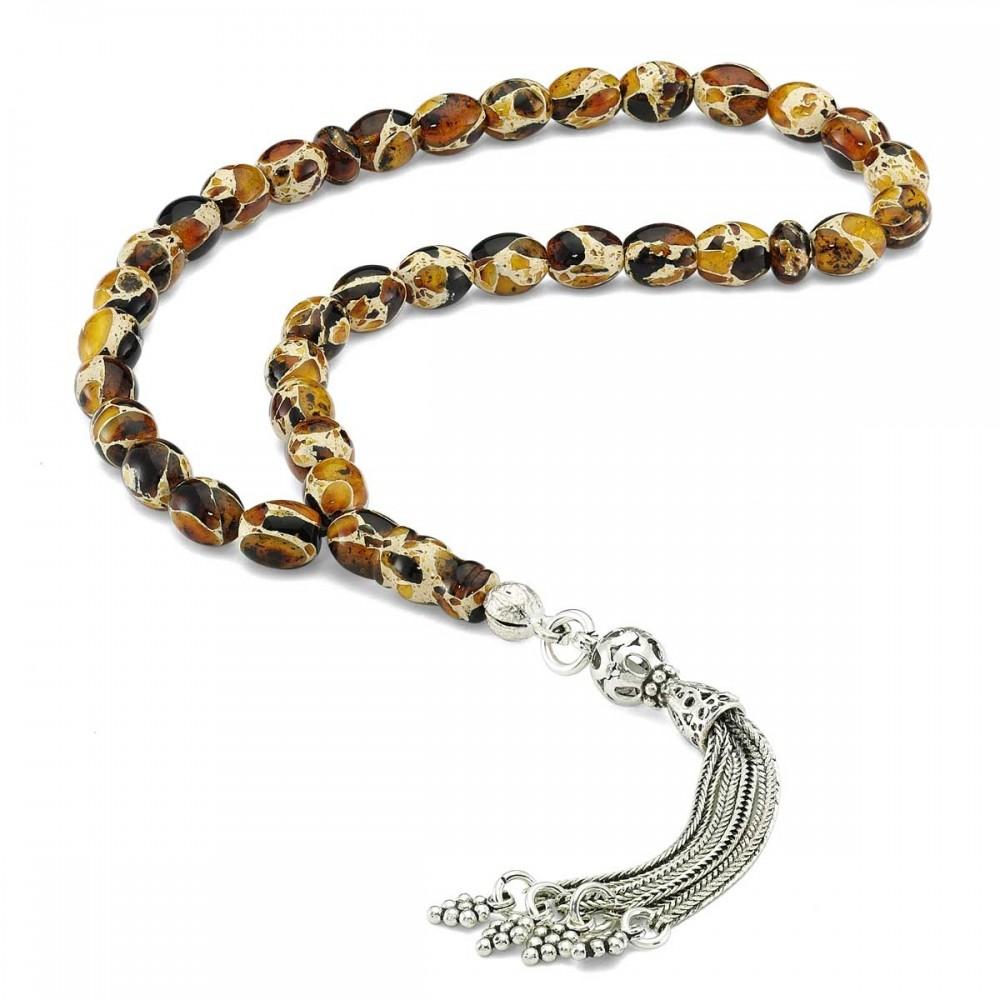 Parça Kehribar Sarı Taşlı Gümüş Tesbih MYDT0023 8268 Thumb
