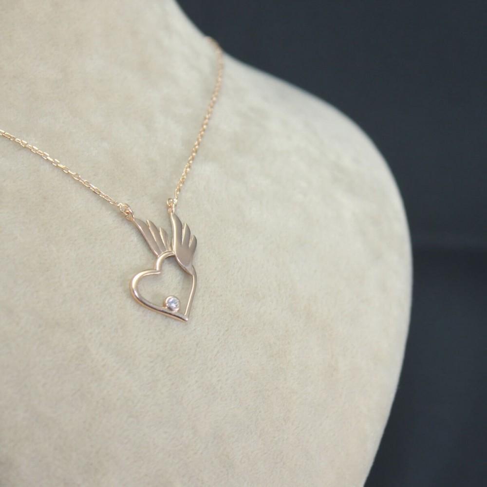 Pietra Kanatlı Kalp Gümüş Kolye MY101658 10441 Thumb