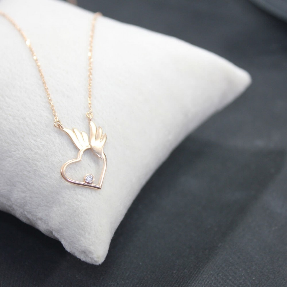 Pietra Kanatlı Kalp Gümüş Kolye MY101658 10440 Thumb