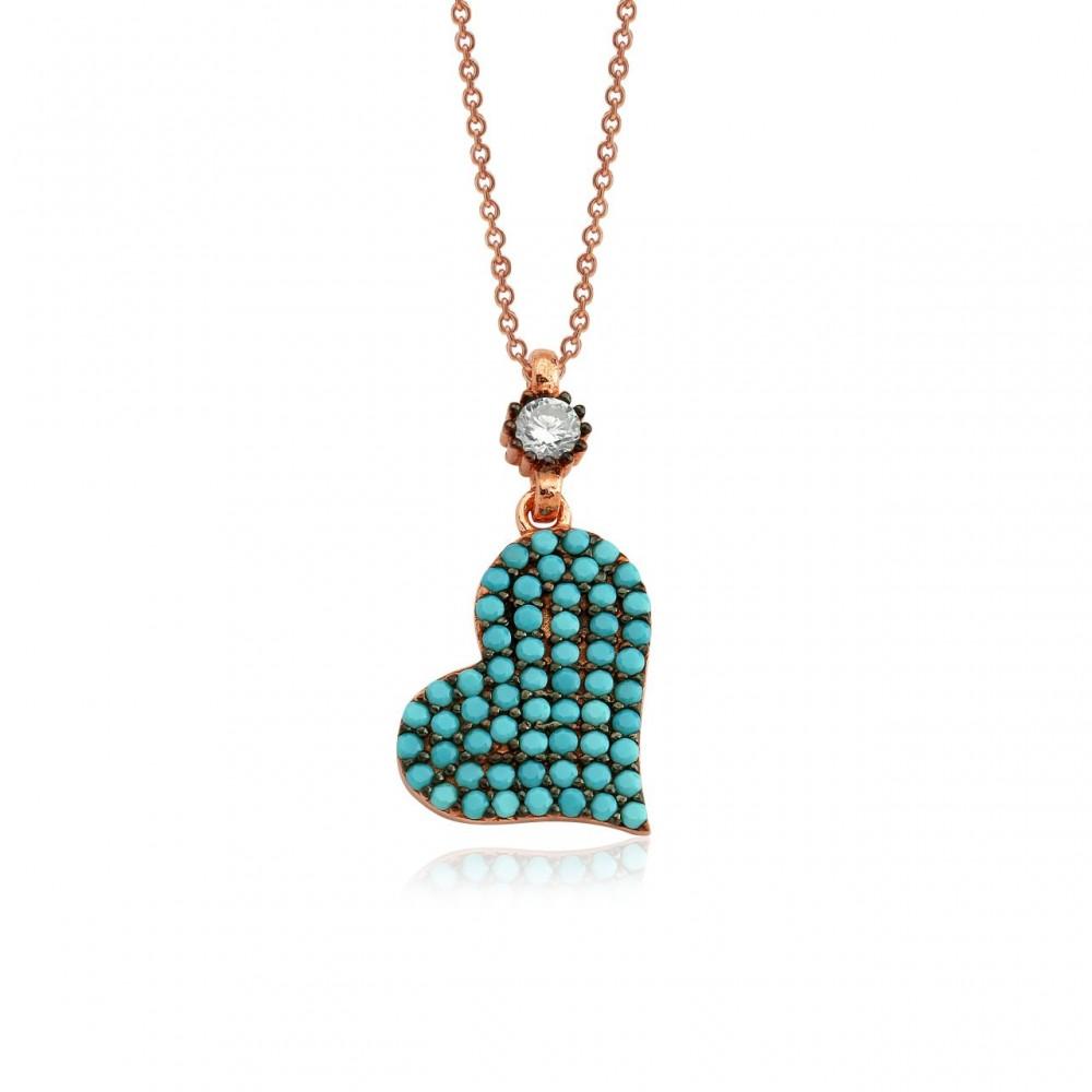 Firuze Taşlı Kalpli Gümüş Kolye MY0201052 2789 Thumb