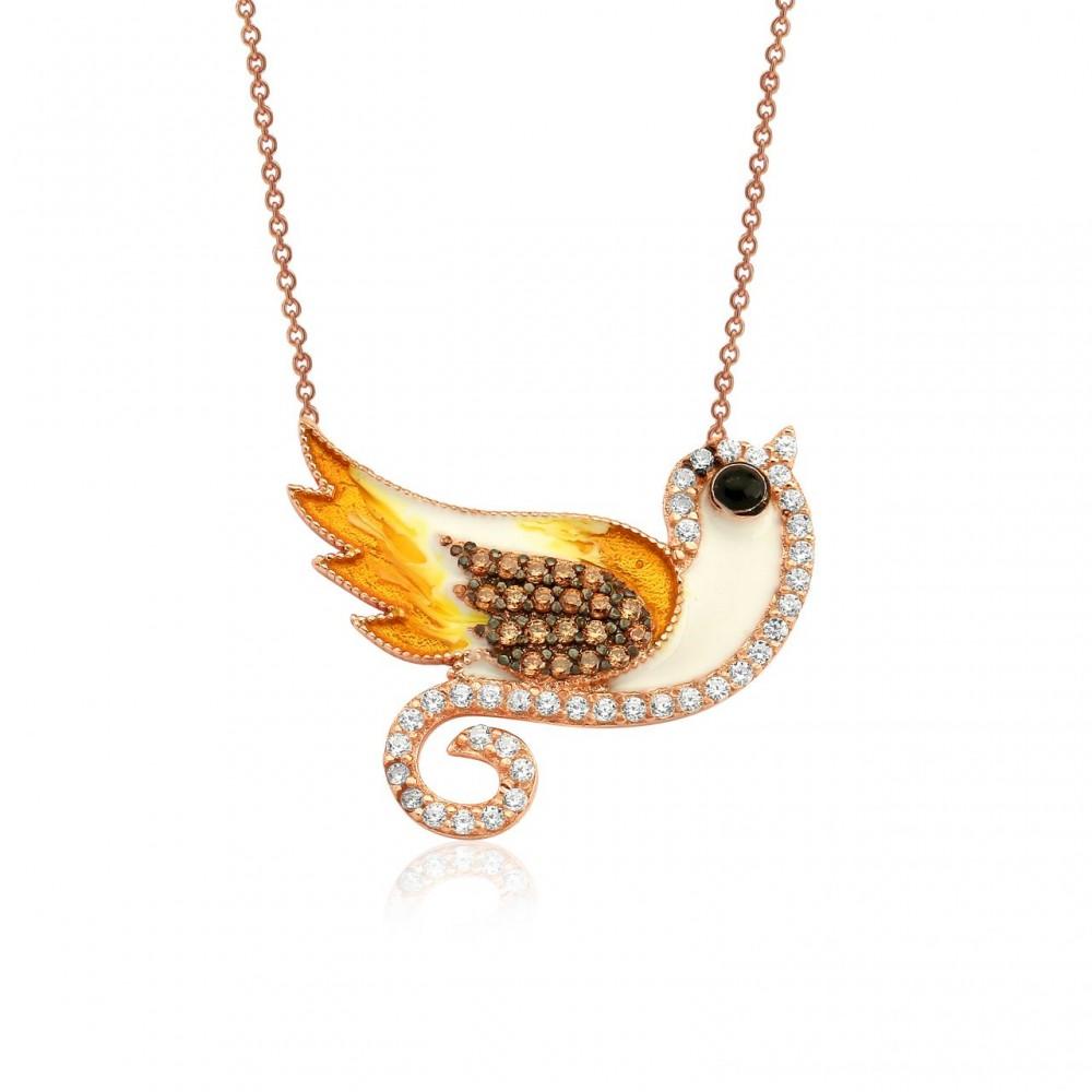Kuş Figürlü Mineli Gümüş Kolye MY0201015 2597 Thumb