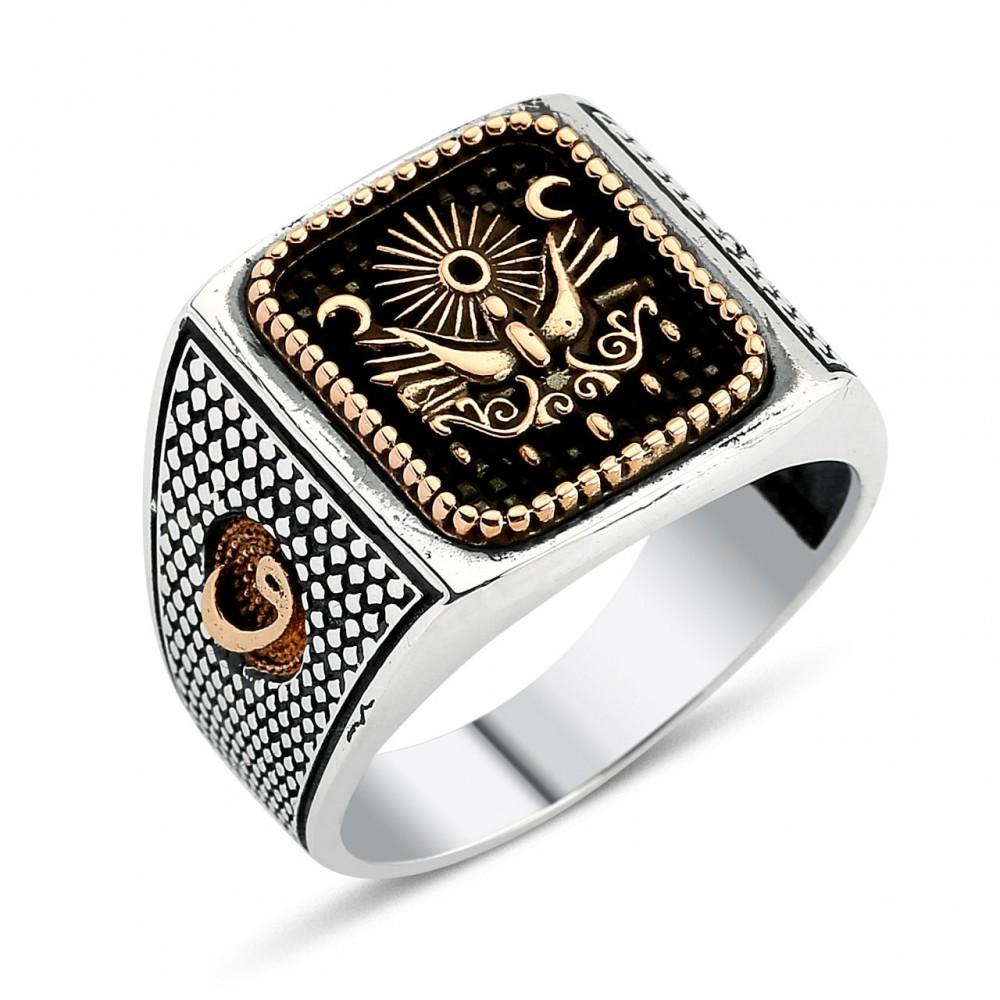 Osmanlı Tuğralı Vav Harfi Motifli Gümüş Yüzük MY0304045 4016 Thumb