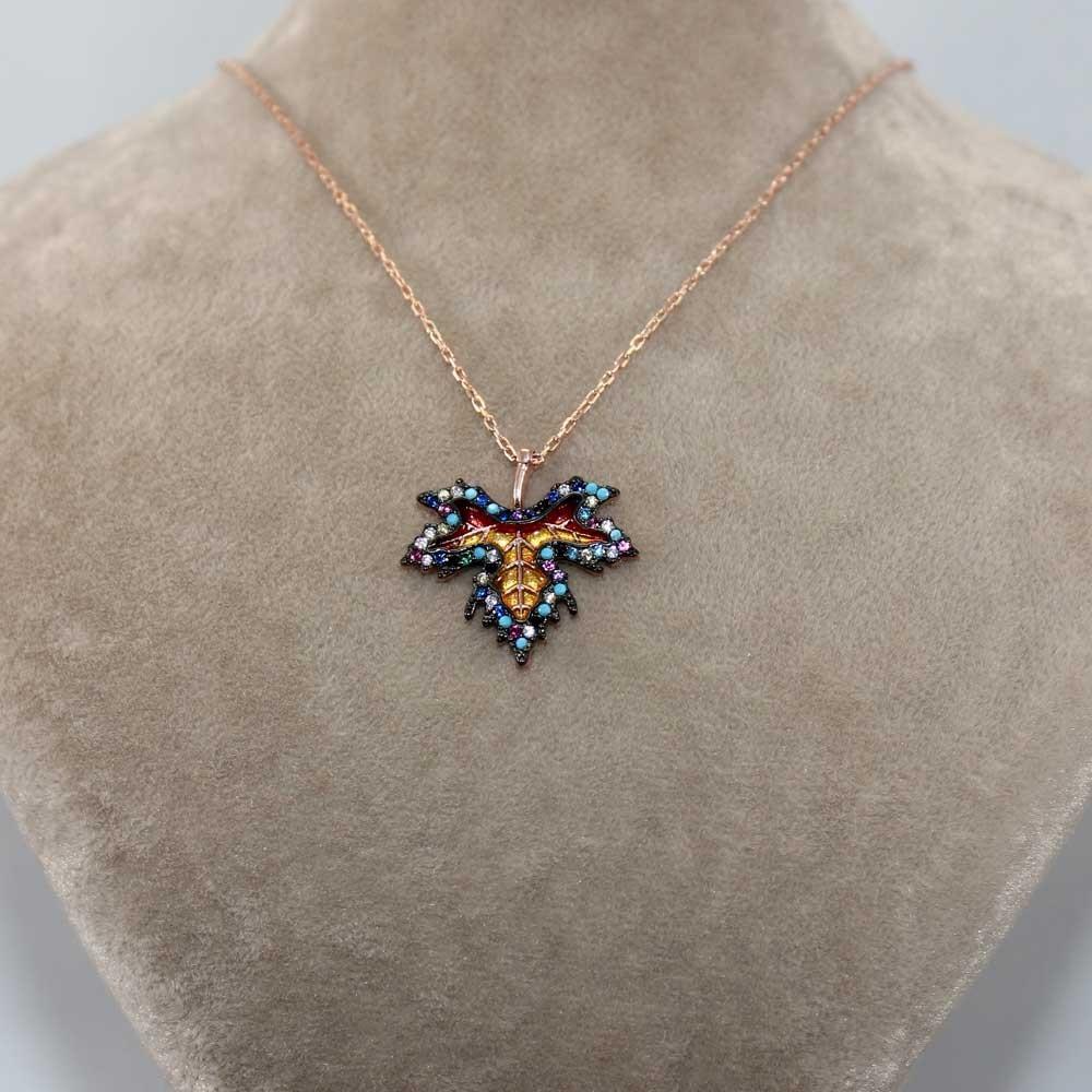Renkli Çınar Yaprağı Gümüş Kolye MY0301060 7708 Thumb