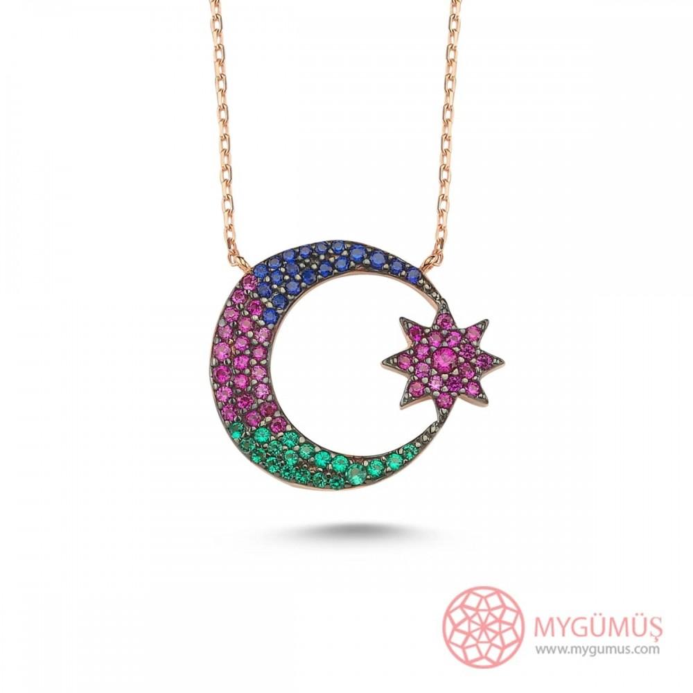 Renkli Taşlı Ay Yıldız Gümüş Kolye MY101501 9908 Thumb