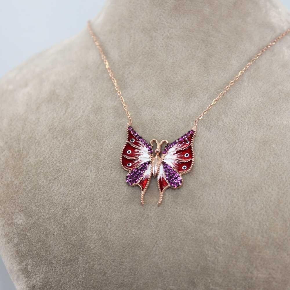 Rose Taşlı Mineli Kelebek Gümüş Kolye MY0201012-R 8033 Thumb