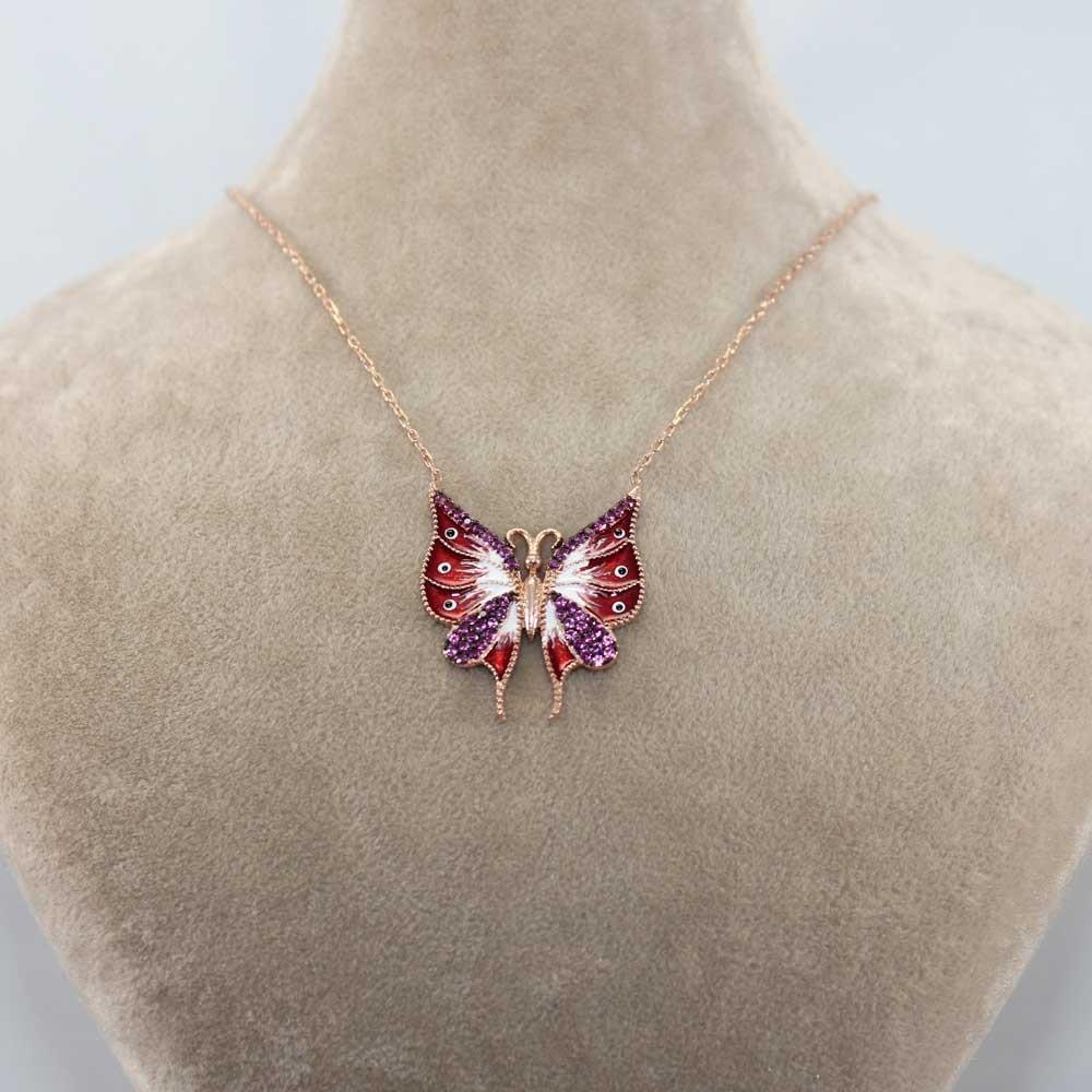 Rose Taşlı Mineli Kelebek Gümüş Kolye MY0201012-R 8031 Thumb