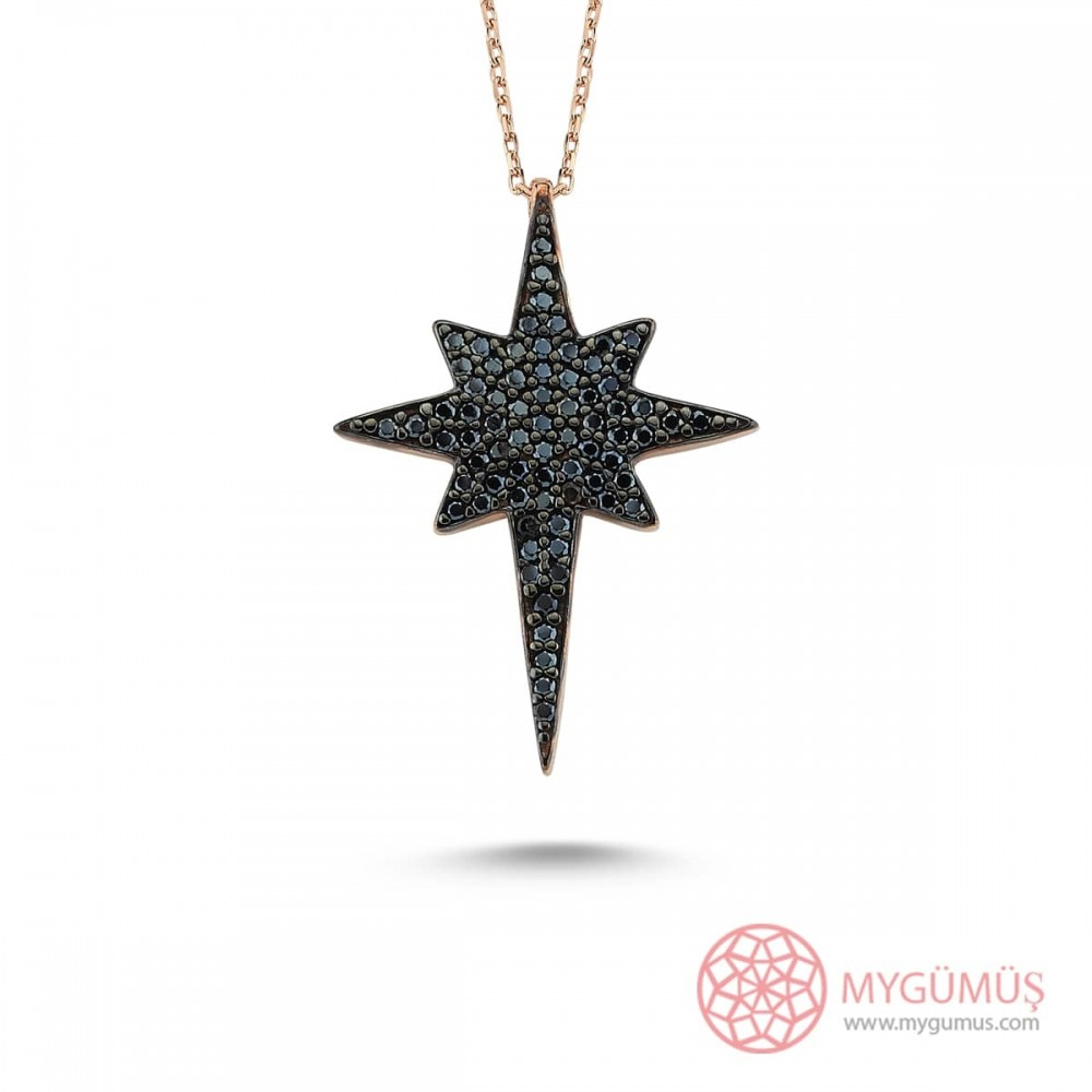 Safir Taşlı Kutup Yıldızı Gümüş Kolye MY101398 9611 Thumb