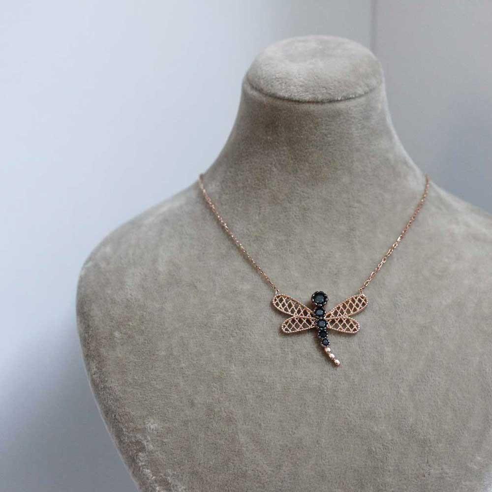 Safir Taşlı Kelebek Gümüş Kolye MYK00106 7192 Thumb