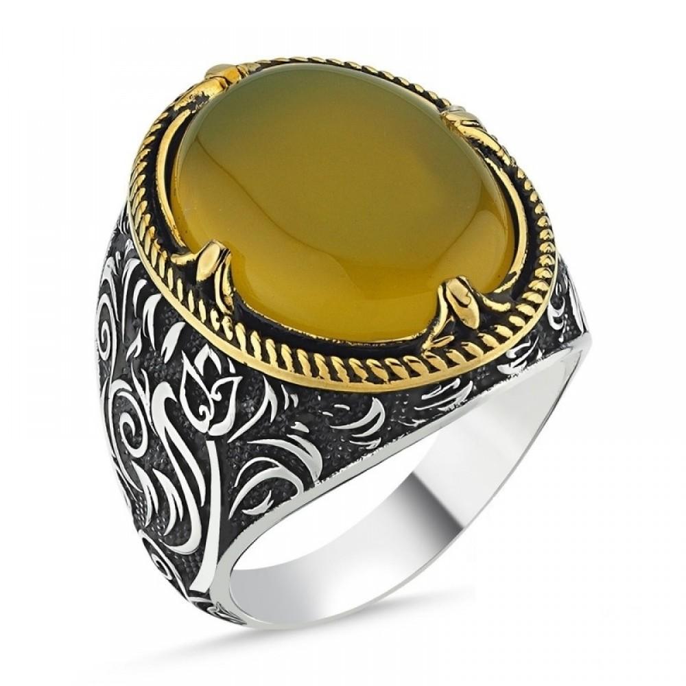 Sarı Kehribar Taşlı Erkek Gümüş Yüzük MY101821 10548 Thumb