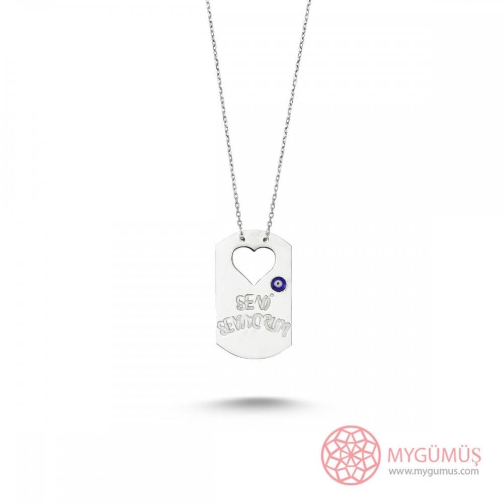 Seni Seviyorum Yazılı Plaka Gümüş Kolye MY101334 9224 Thumb
