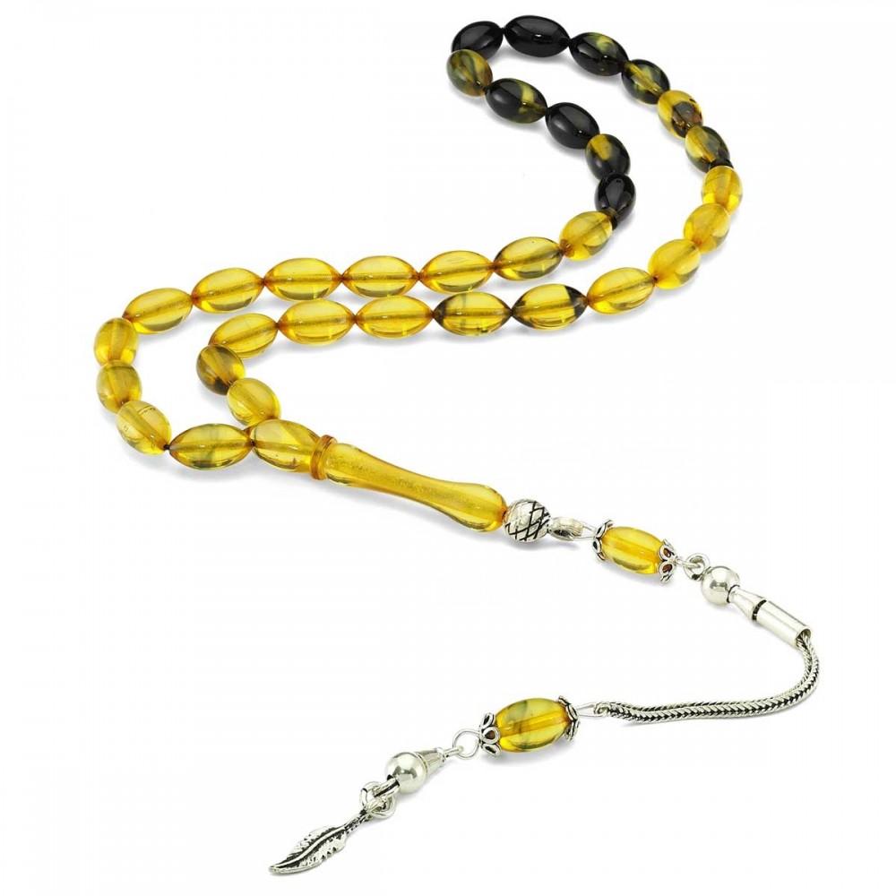 Sıkma Kehribar Sarı Taşlı Gümüş Tesbih MYDT026 8255 Thumb