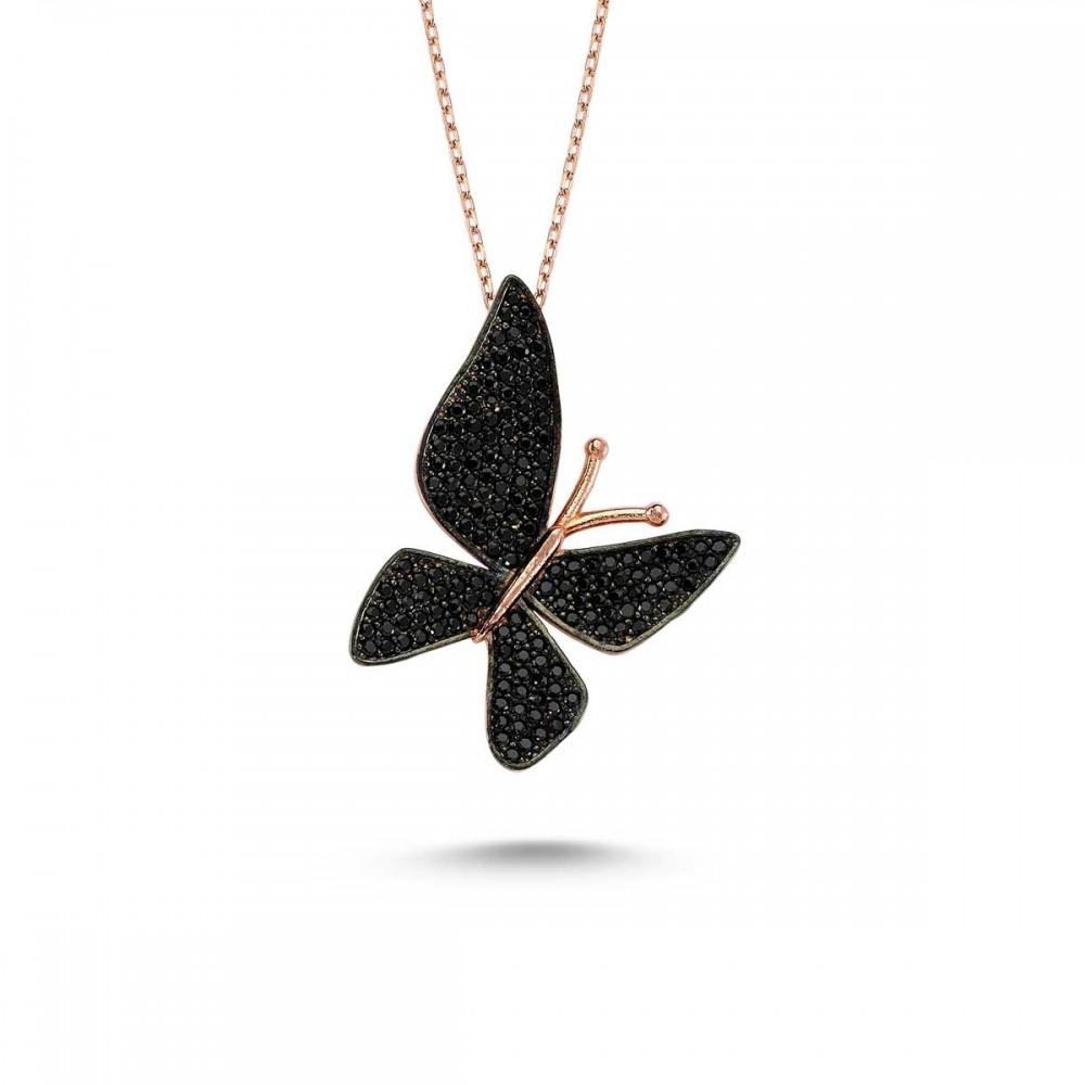 Siyah Çoktaşlı Kelebek Gümüş Kolye MY000103 14988 Thumb