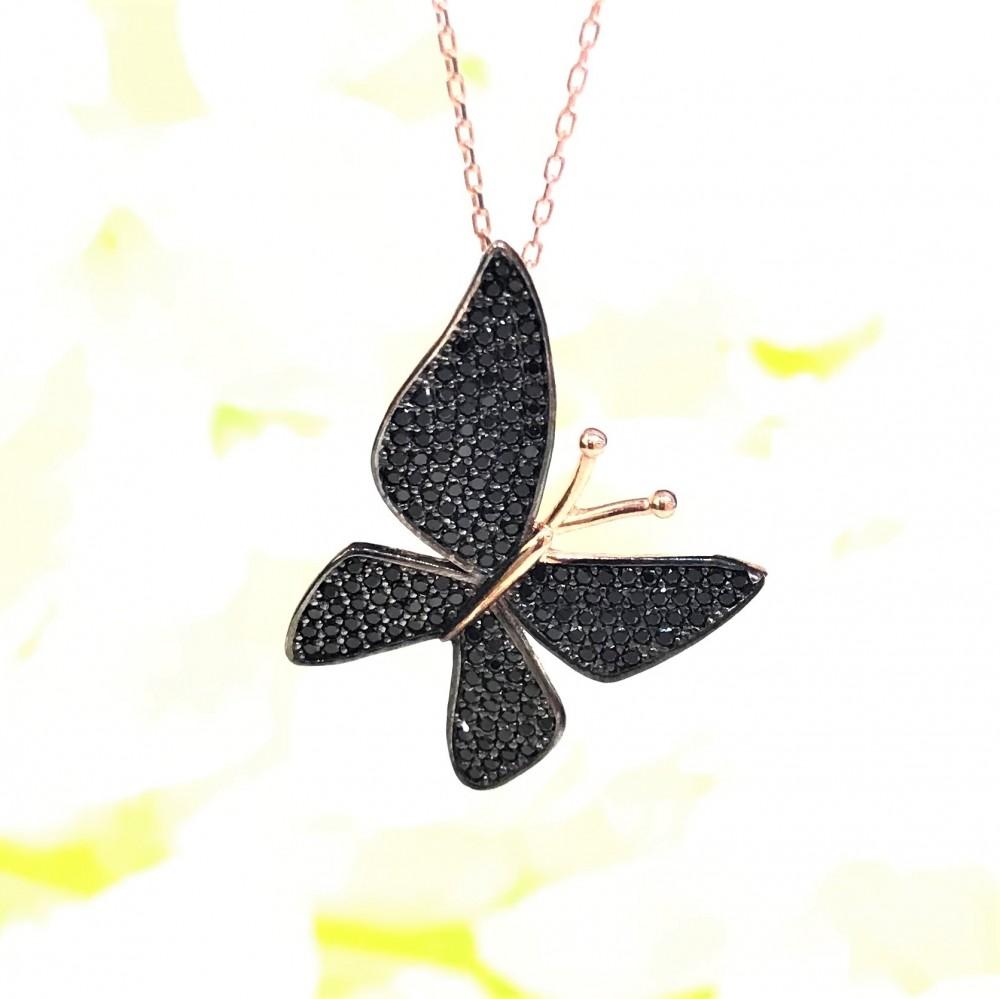 Siyah Çoktaşlı Kelebek Gümüş Kolye MY000103 14989 Thumb