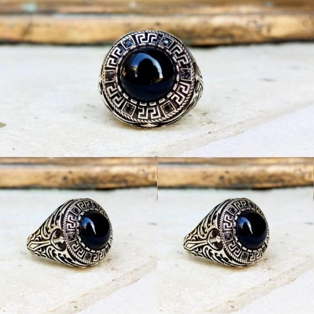 Siyah Kapşon Taşlı Erkek Gümüş Yüzük MY101812 10535 Thumb