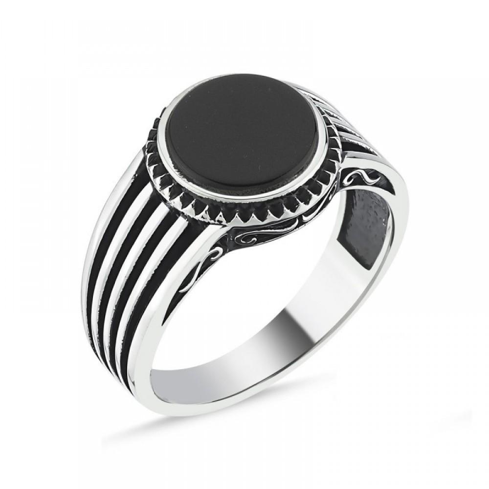 Siyah Taşlı Erkek Gümüş Yüzük MY101808 10530 Thumb