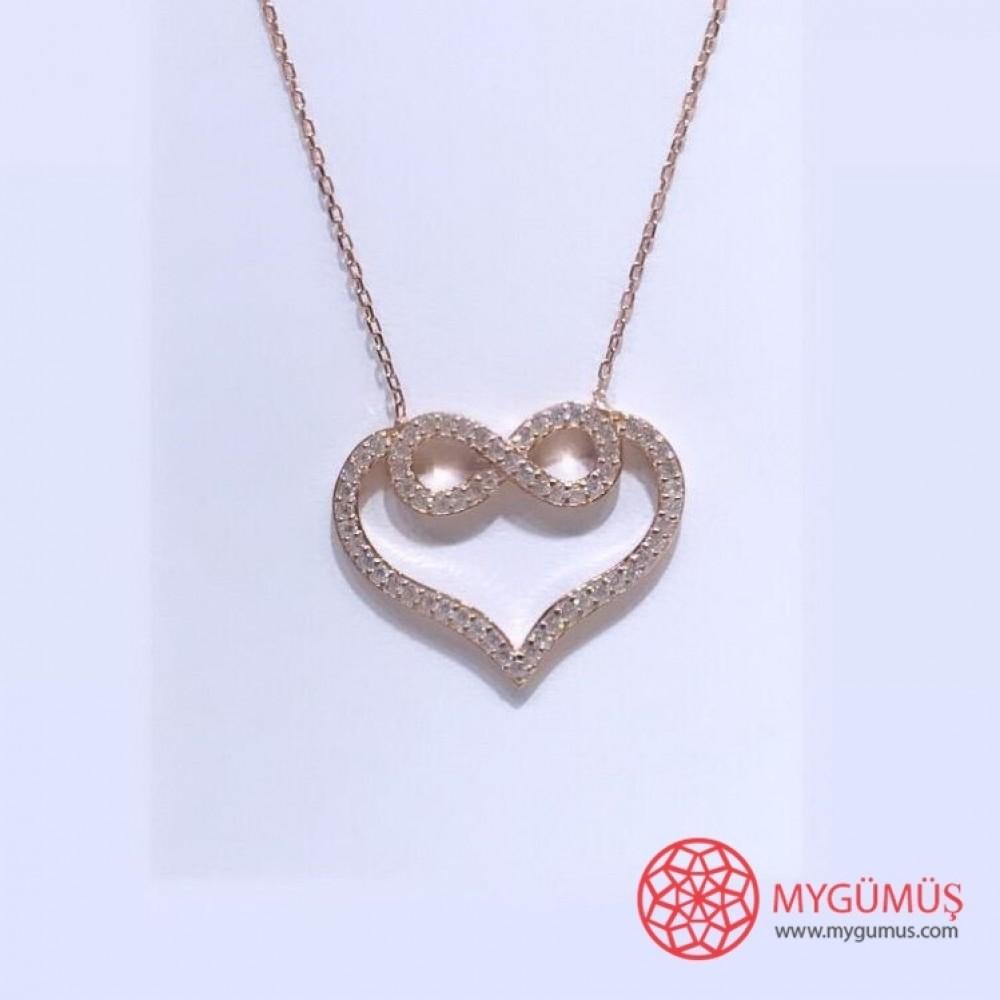 Sonsuzluk İşlemeli Kalp Gümüş Kolye MY101450 11567 Thumb