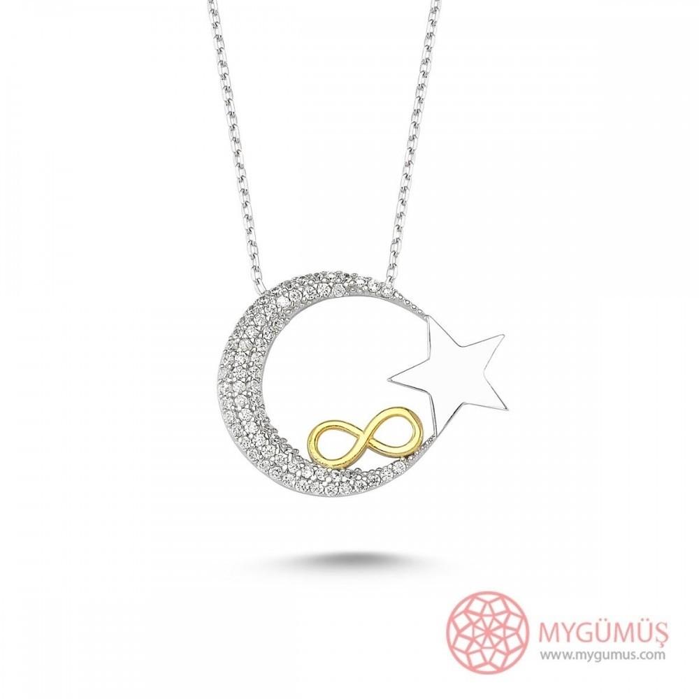 Sonsuzluk İşlemeli Ay Yıldız Gümüş Kolye MY0301010 11589 Thumb