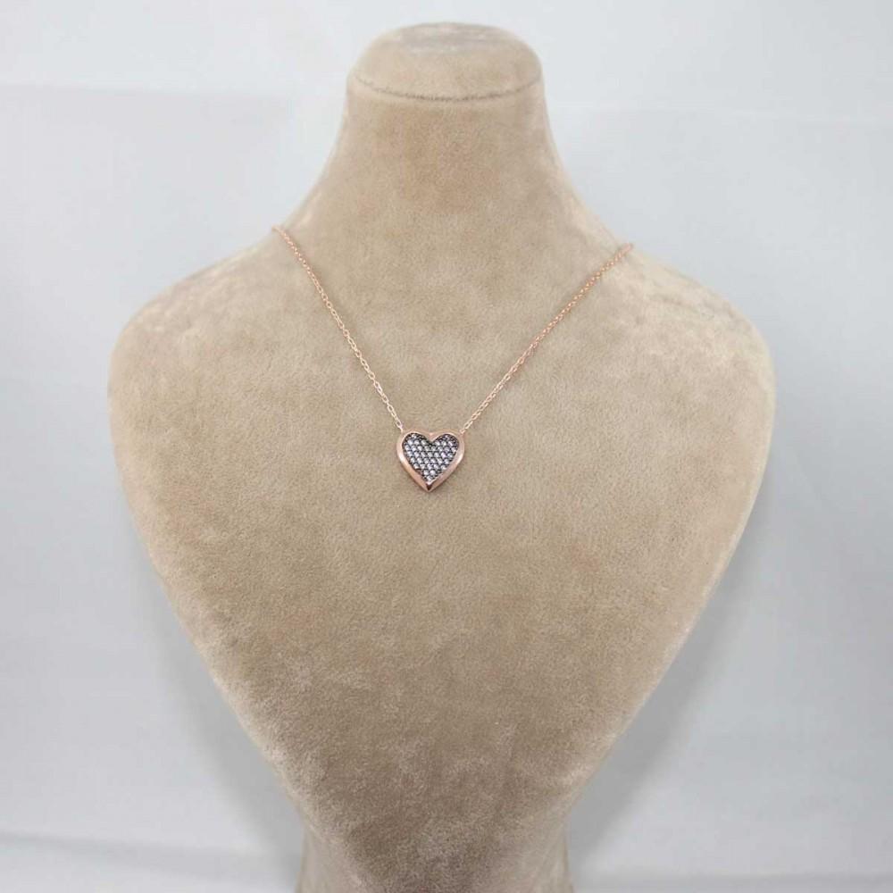 Taşlı Kalp Gümüş Kolye MY101196 8698 Thumb