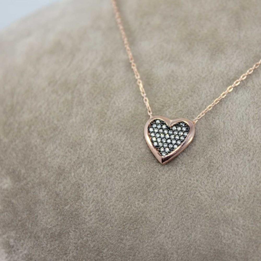 Taşlı Kalp Gümüş Kolye MY101196 8699 Thumb