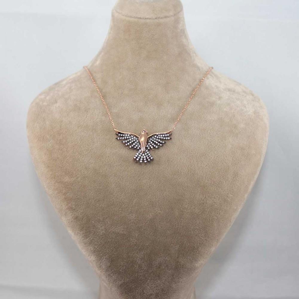 Taşlı Kanatlar Kuş Gümüş Kolye MY101201 8702 Thumb
