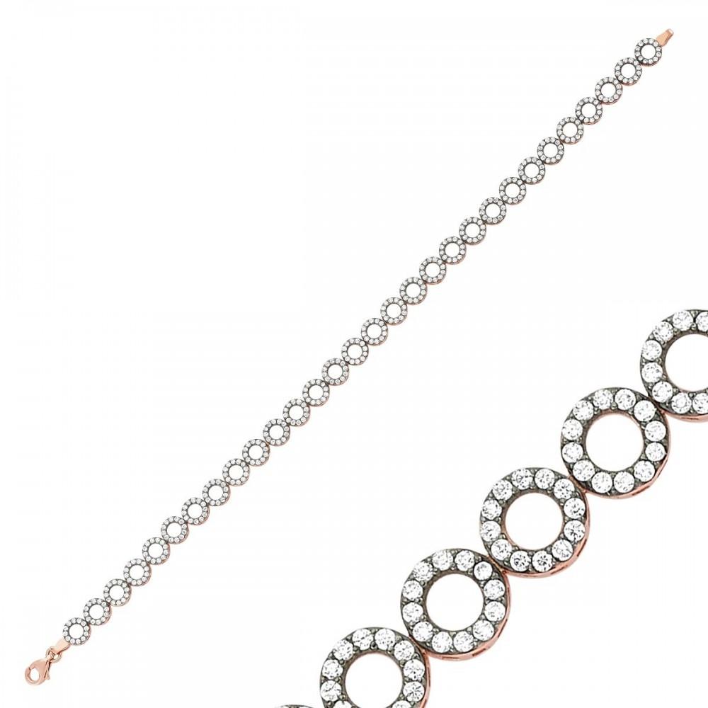 Taşlı Sıralı Elmas Efektli Rose Gümüş Bileklik Bayan MYSS0006 9254 Thumb
