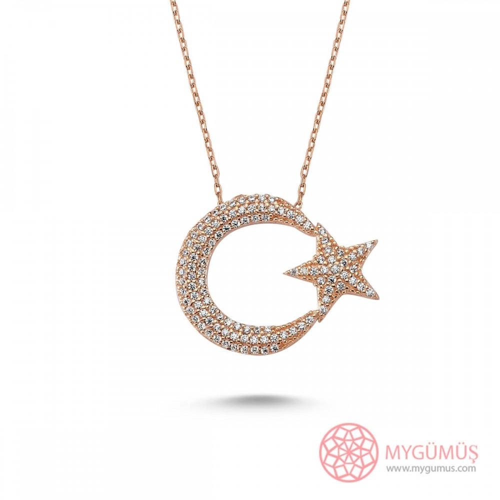 Taşlı Büyük Ay Yıldız Gümüş Kolye MY101192 8595 Thumb
