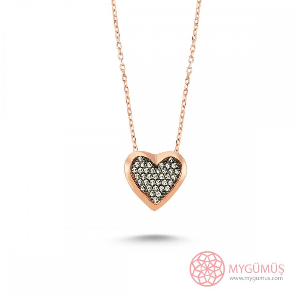 Taşlı Kalp Gümüş Kolye MY101196 8609 Thumb