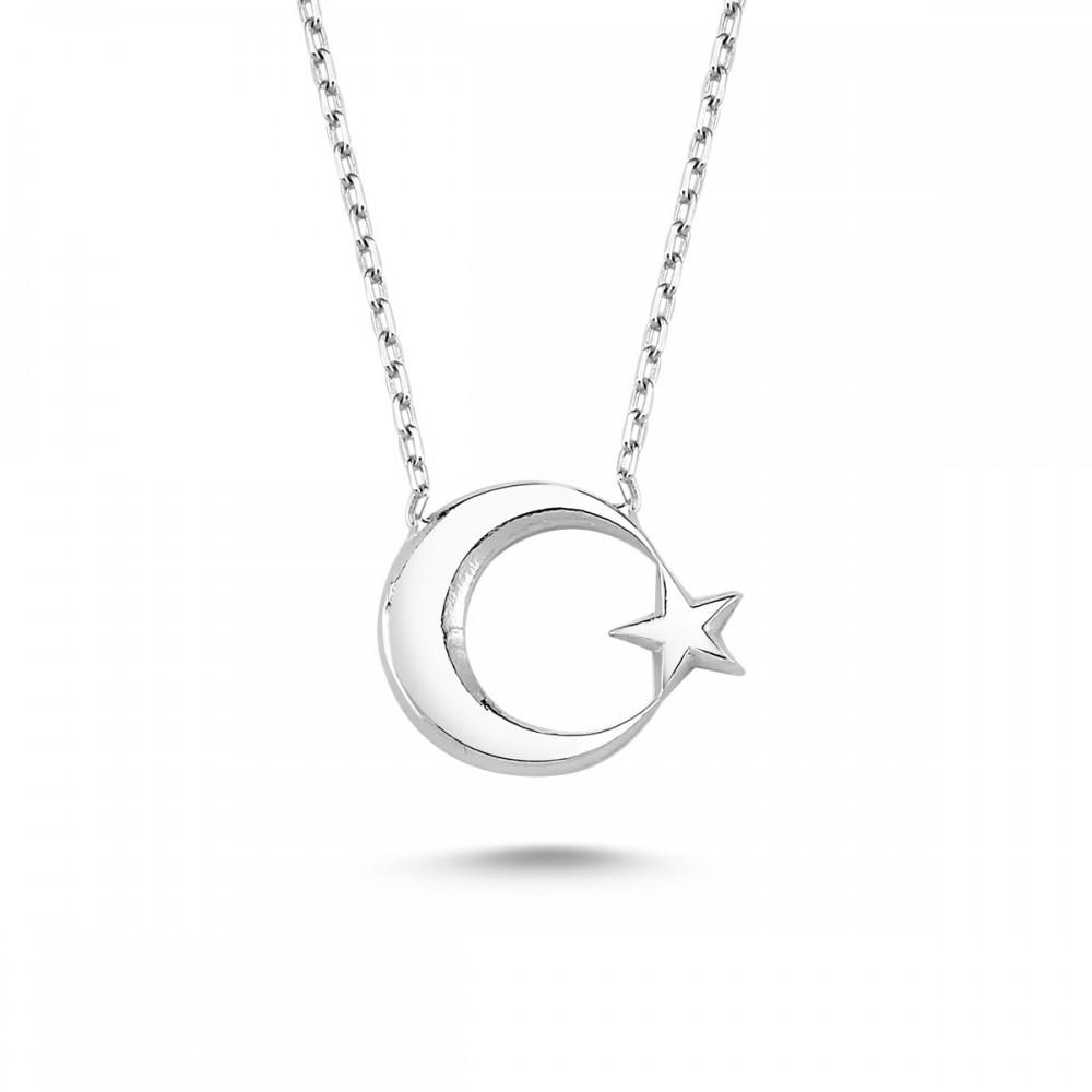 Ay Yıldız Gümüş Kolye MY100055 9492 Thumb