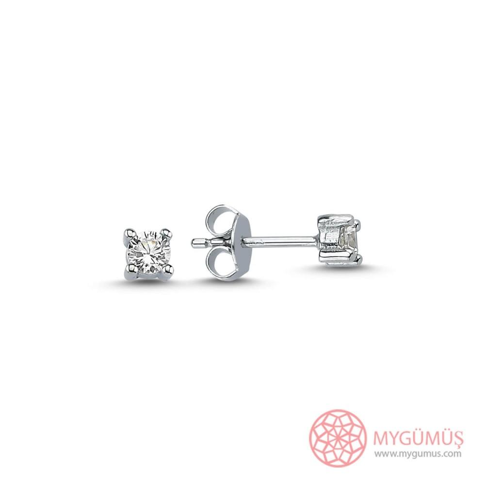 Tek Taş Vidalı Gümüş Küpe MY101473 9902 Thumb