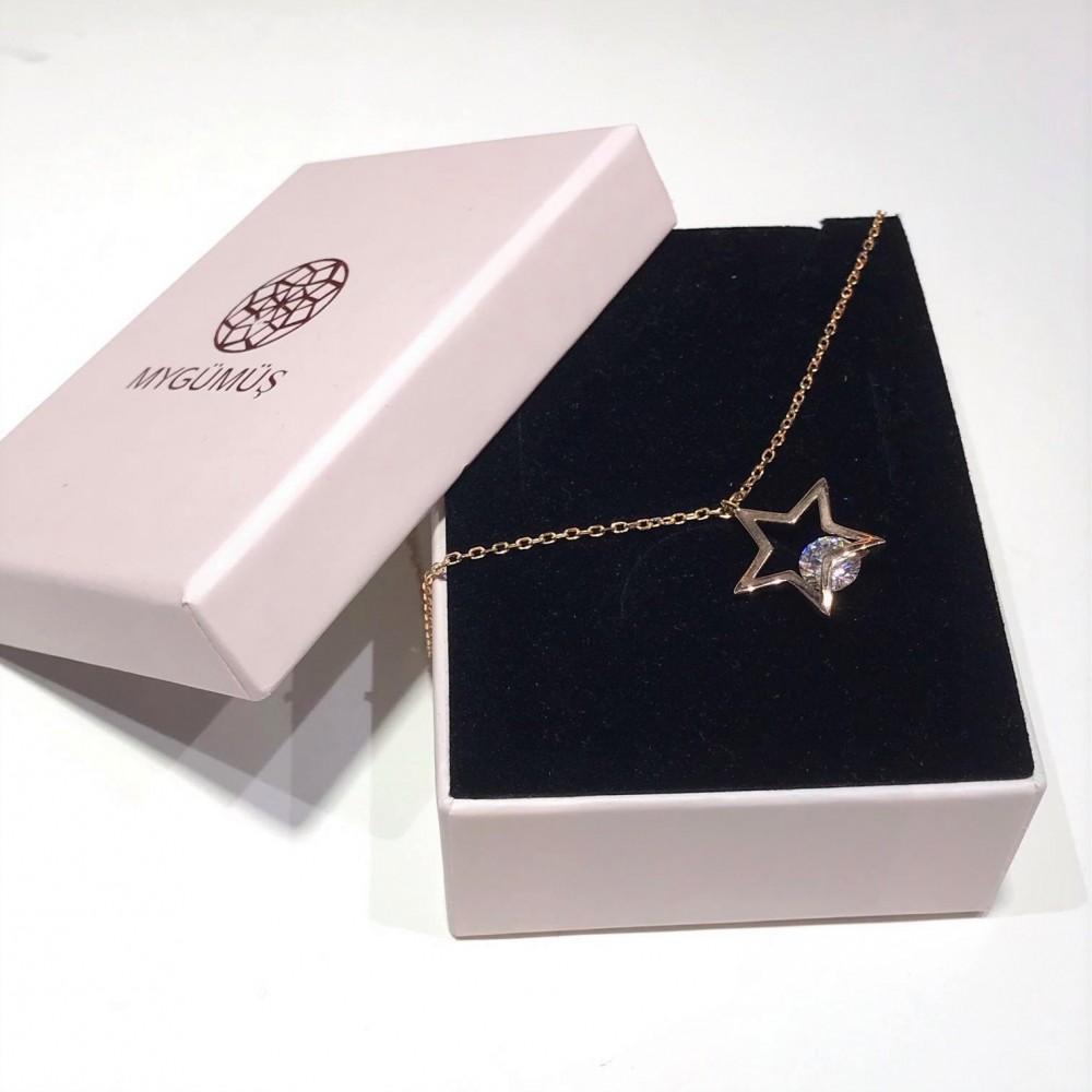 Tek Taşlı Yıldız Gümüş Halhal MYH00105 12741 Thumb
