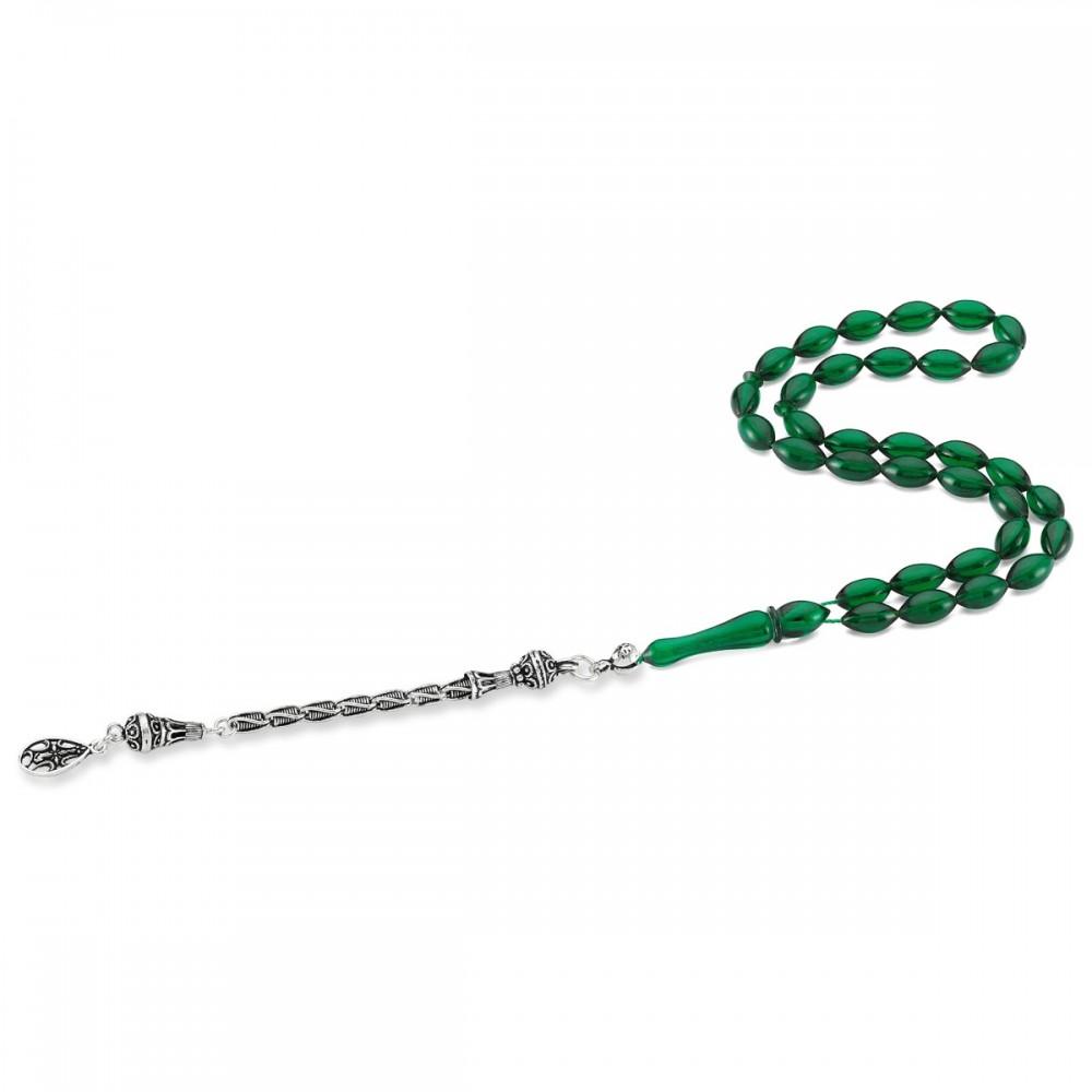 Tekli Gümüş Püsküllü Yeşil Renk Sıkma Kehribar Tesbih MY0035 8365 Thumb