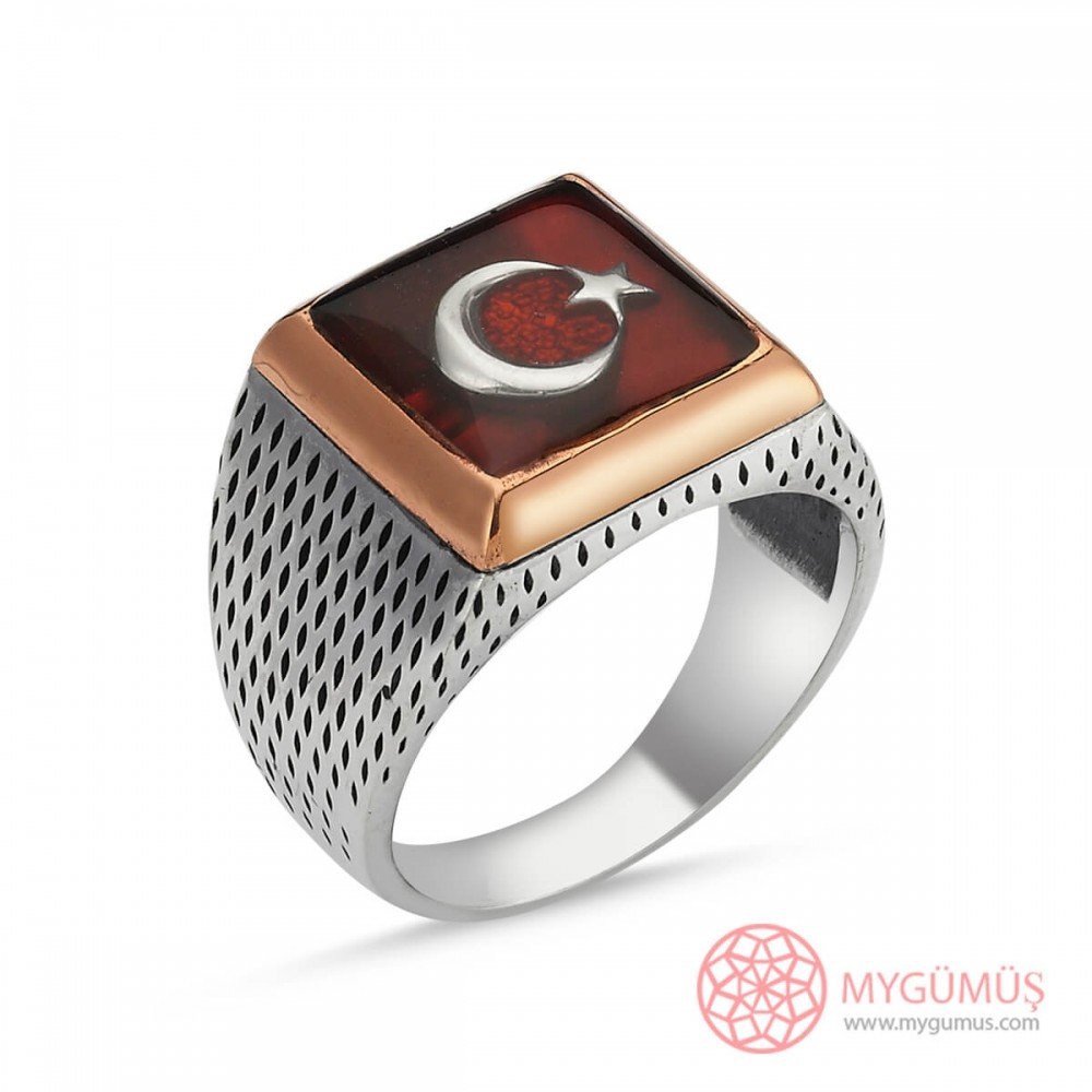 Türk Bayrağı Motifli Erkek Gümüş Yüzük MY101219 8733 Thumb