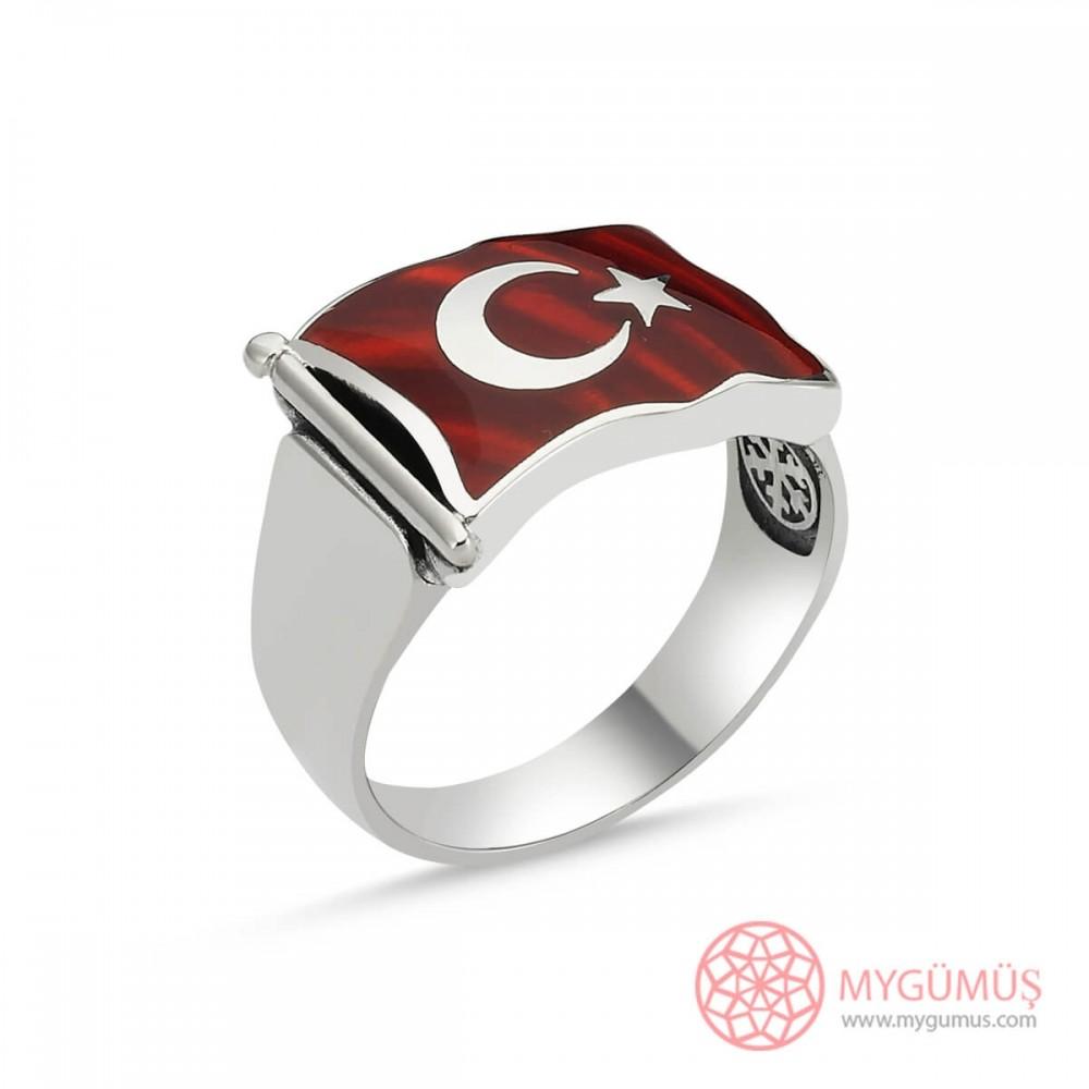 Türk Bayrağı Motifli Erkek Gümüş Yüzük MY101224 8738 Thumb