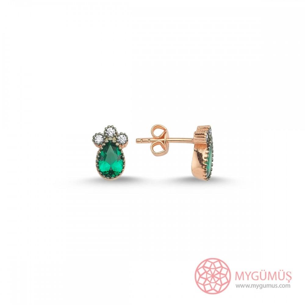 Üç Taş Yeşil Damla Gümüş Küpe MY102021 10322 Thumb