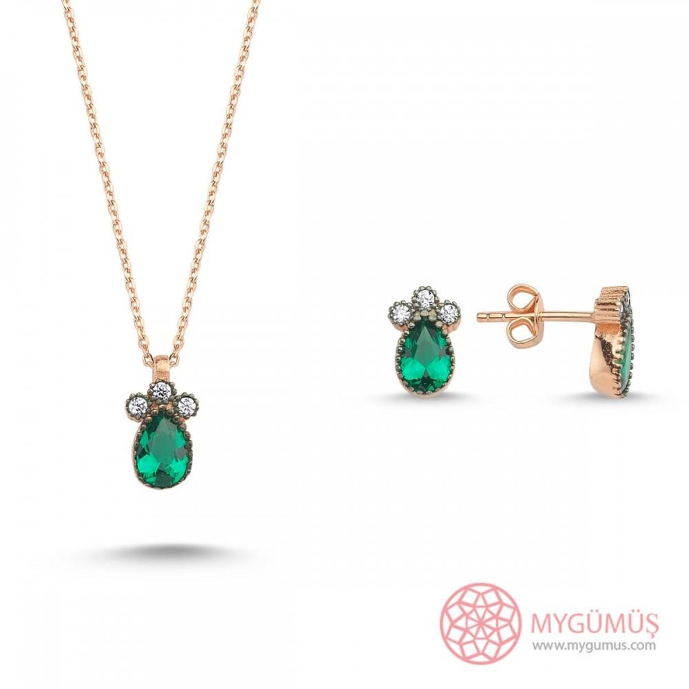 Üç Taş Yeşil Damla Gümüş Kolye Küpe Set MY101759 10320 Thumb