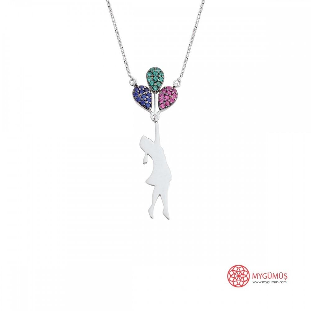 Uçan Balonlu Kız Gümüş Kolye MY101401 9850 Thumb