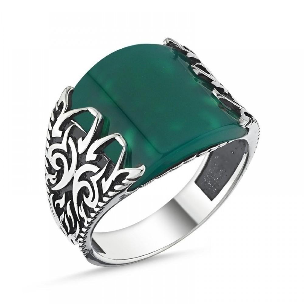 Yeşil Akik Taşlı Erkek Gümüş Yüzük MY101819 10541 Thumb