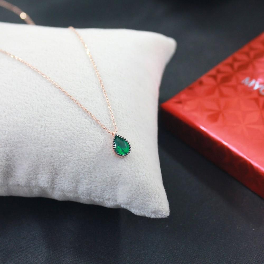 Yeşil Damla Tektaş Gümüş Kolye MY101388 10357 Thumb