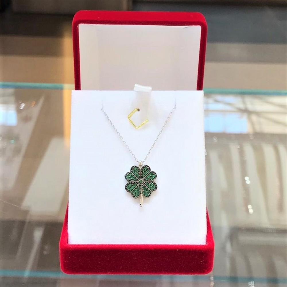 Yeşil Dört Yapraklı Yonca Gümüş Kolye MY101367 13718 Thumb