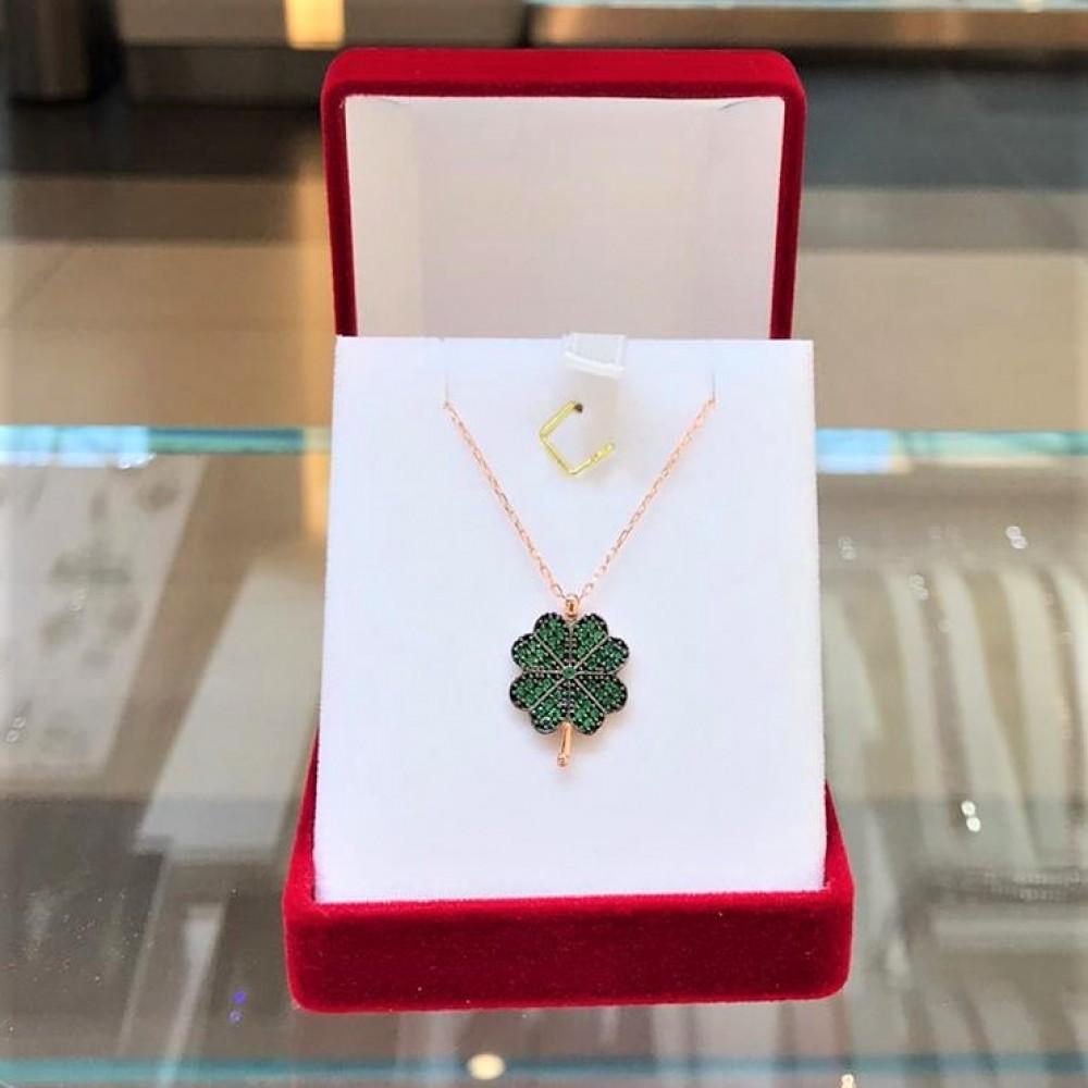 Yeşil Dört Yapraklı Yonca Gümüş Kolye MY101367 13716 Thumb