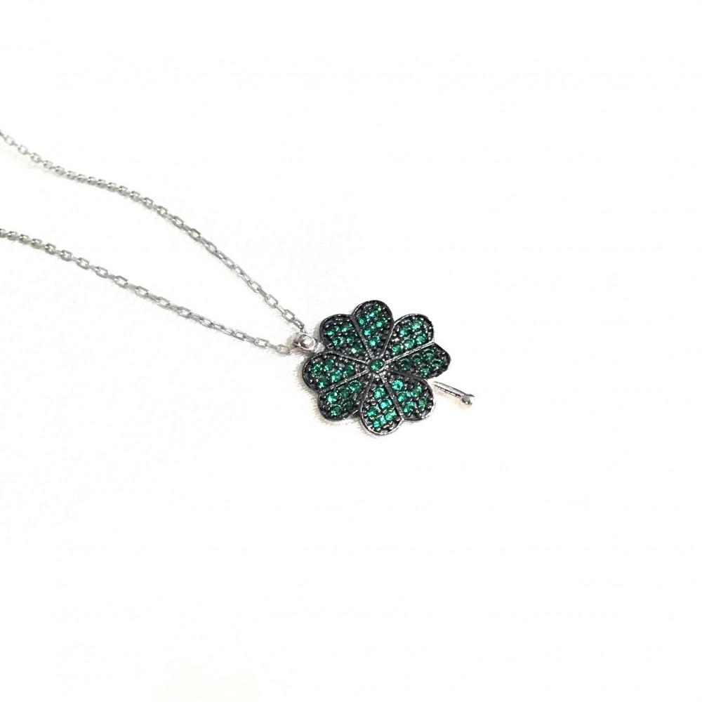 Yeşil Dört Yapraklı Yonca Gümüş Kolye MY101367 14990 Thumb
