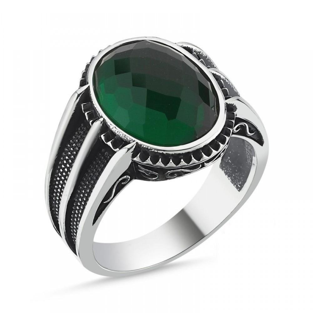 Yeşil Faset Erkek Gümüş Yüzük MY101810 10532 Thumb