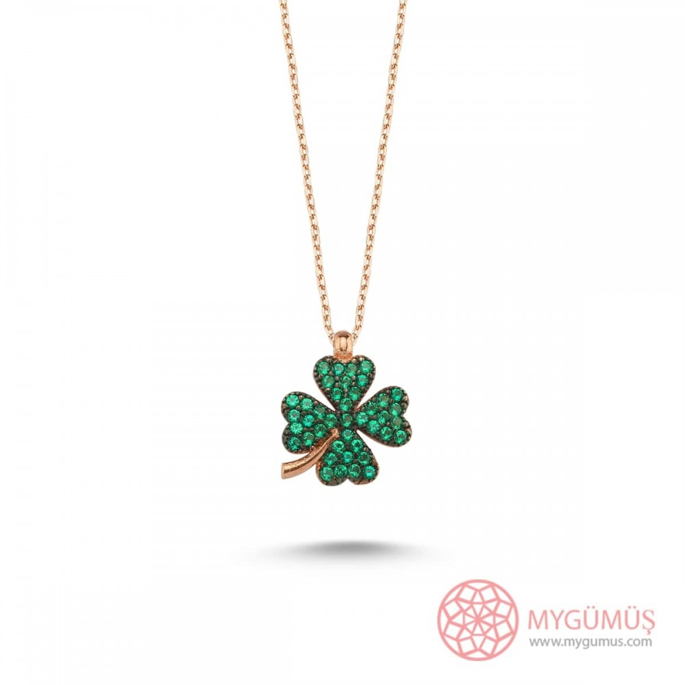 Yeşil Taşlı Kalp Yonca Gümüş Kolye MY101920 10721 Thumb