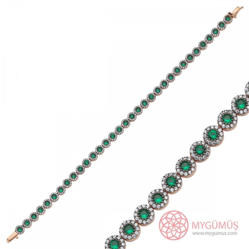 Yeşil Zirkon Taşlı Su Yolu Gümüş Bileklik Bayan MYB0016 10109 Thumb